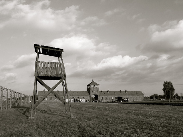 Guard tower at Auschwitz II-Birkenau