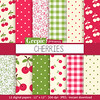 "Cherry digital paper: ""CHERRIES"" digital paper pack with red, green and pink cherry backgrounds and textures, gingham, polkadots by workyourart"