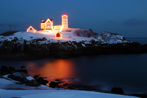 Nubble Light dressed for the holidays by nelights