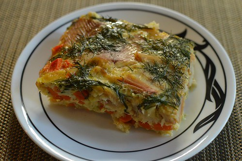 Crustless smoked trout quiche