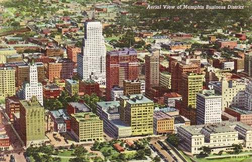downtown Memphis (vintage postcard via Jasperdo, creative commons)