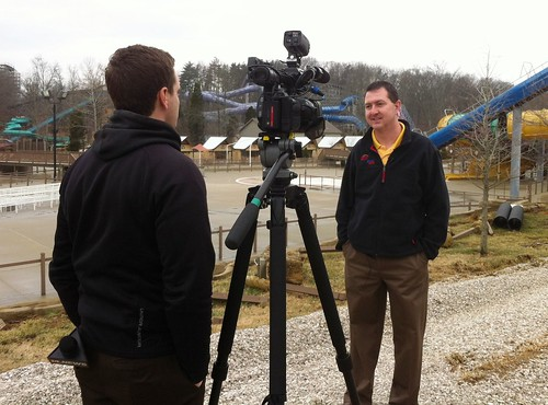 Nick from WFIE-TV interviews Holiday World President Matt Eckert about season job opportunities..