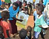 UNICEF staff teach children in South Sudan the importance of washing their hands by unicefireland