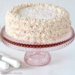 Pink pressed glass cake stand