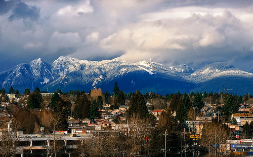 Vancouver Mountains with Snow in Winter