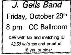 J. Geils band concert 1972  albany ny 1970s  sunya campus center ballroom