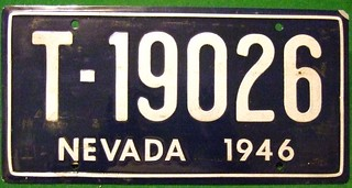 NEVADA  1946 ---PROP LICENSE  PLATE