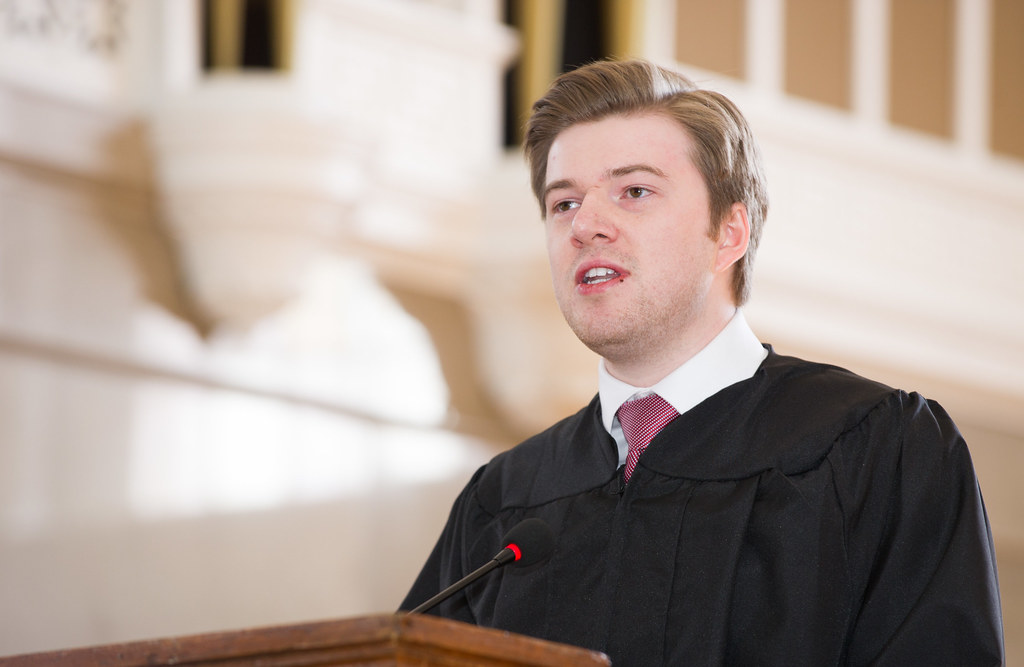 Student Forum President A. Richard Harris speaks at Founders Day.