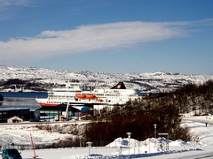 View of the Hurtigruten from Prestøya, Kirkenes