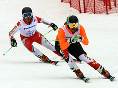 Marcoux and Femy tackle the slalom course in Sochi, RUS