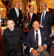 Adrian Newey (centre) of F1 Chief Enginner and Designer of Red Bull Racing winning of The Segrave Trophy 2011  with former winnings Sir Jackie Stewart, Damon Hill, Sir Frank Williams, and Sir Sterling Moss. ...