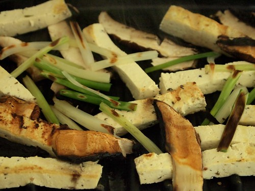 grilling tofu, mushroms, onion