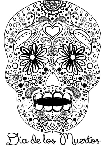 sugar skull coloring sheet by ceck0face