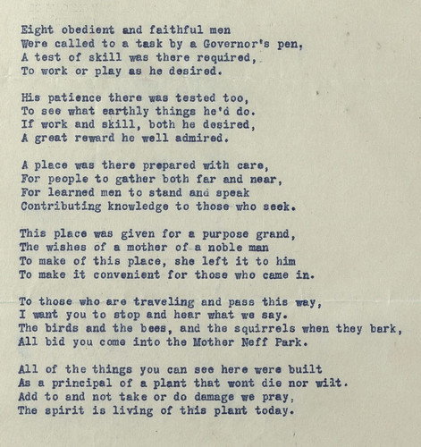 Mother Neff Park Poem, from Mother Neff State Park Scrapbook from the Pat Neff Collection, circa 1930s.