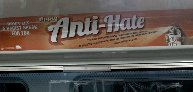 Anti-Hate advertisement on a train