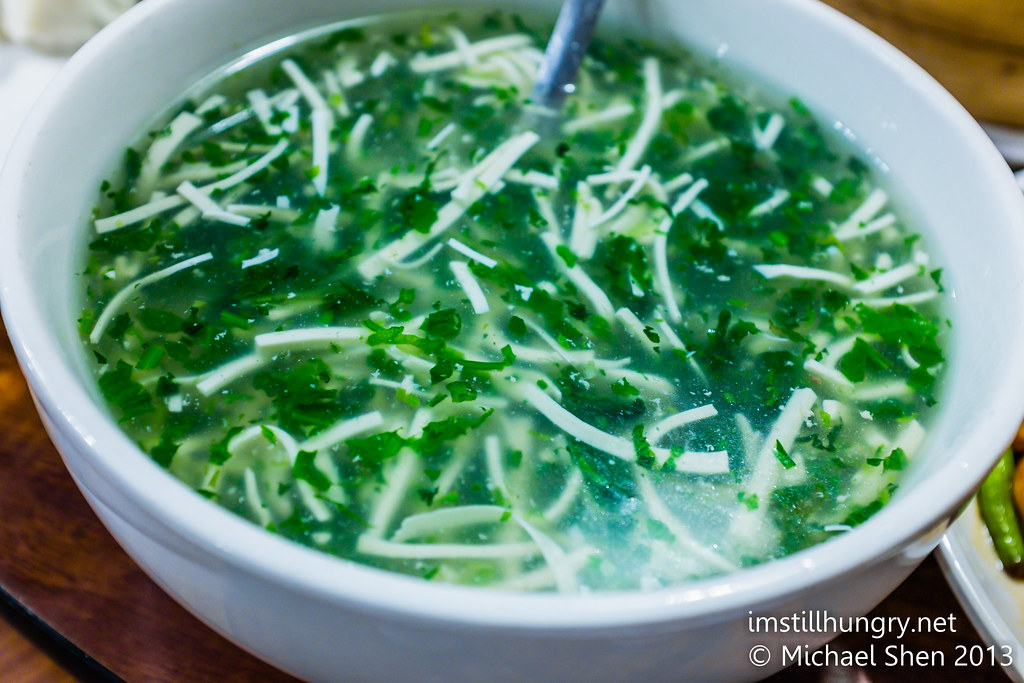 Shredded pork & green vegetables & bean curd soup Taste of Shanghai