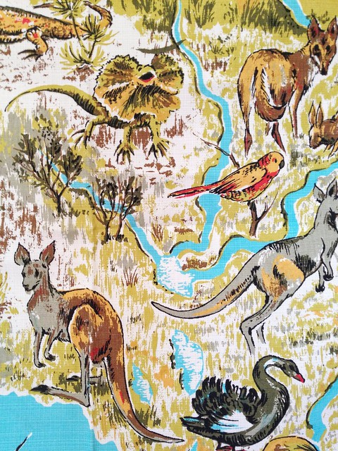 Vintage Wildlife of Australia tablecloth