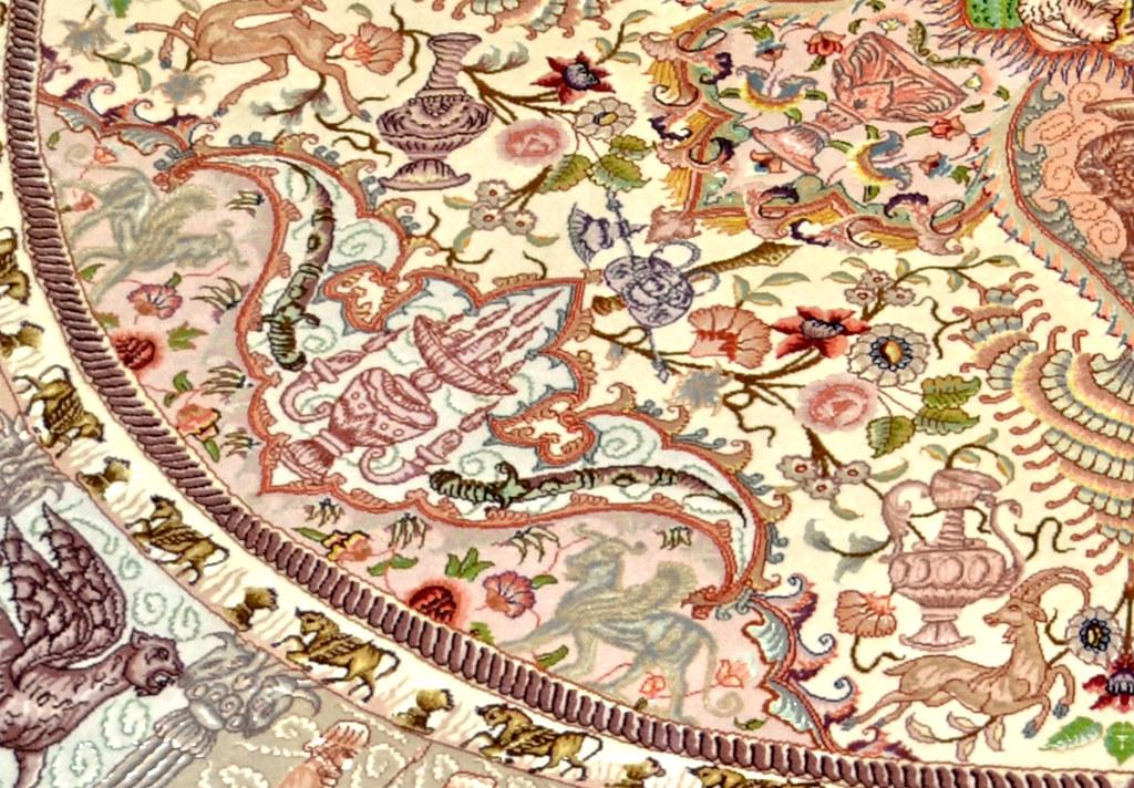 Nami Round Persian Silk Tabriz Area Rug