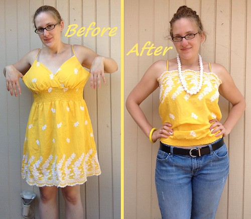 Yellow Rose of Texas Dress-to-Cami Refashion - After