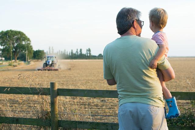 Grandpa & Theo tractor watching