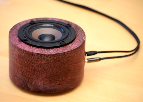 Turned purpleheart USB-powered speaker