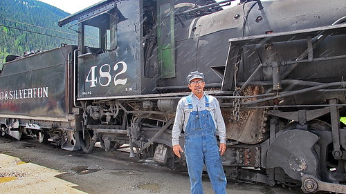 Engineer & Baldwin Steam Locomotive in Silverton