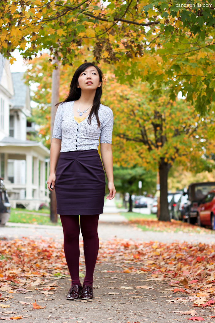 fall color palette outfit: eggplant and burgundy