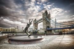 England - London - Dolphin and London Tower Bridge