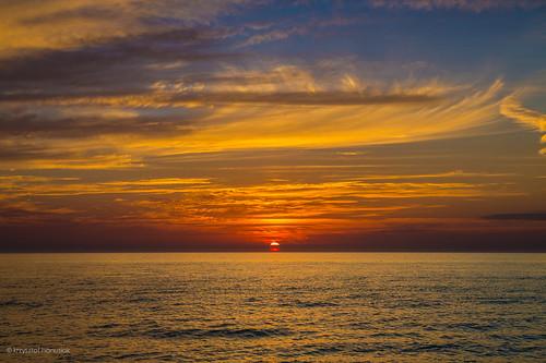 ocean blue red sea orange cloud sun water clouds gold golden unitedstates florida marcoisland suncet hanusiak