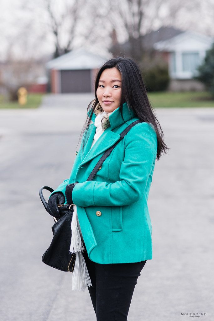 green peacoat from old navy, lace gloves express, leopard vest zara