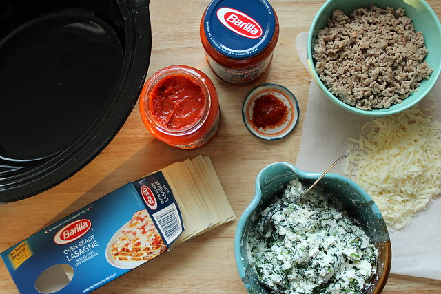 Slow cooker lasagna set-up