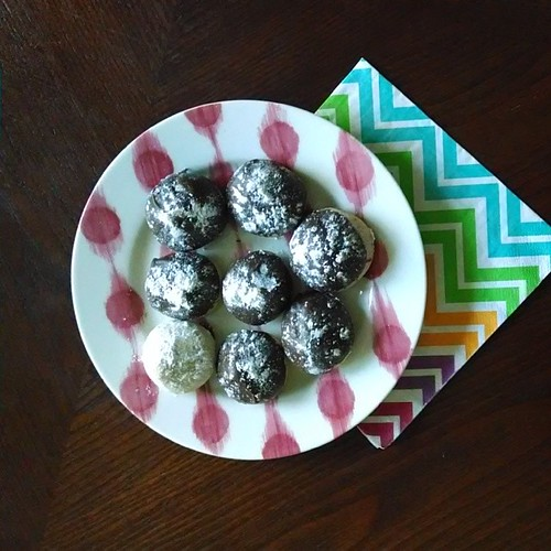 Russian tea cookies with chocolate