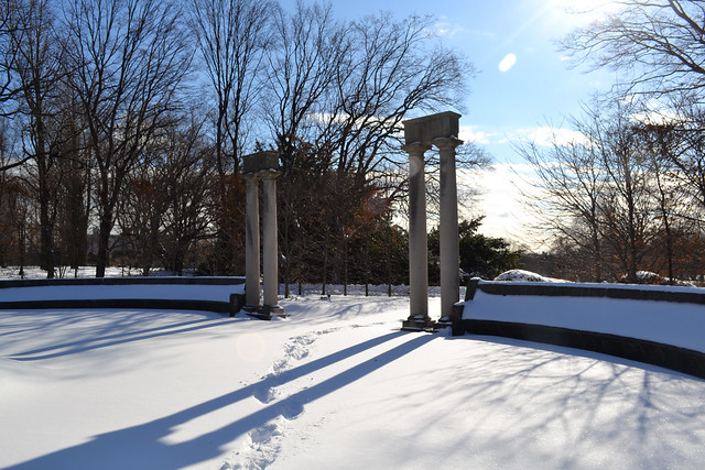 A snowy day in the Osborne Garden. Photo by Dana Miller.