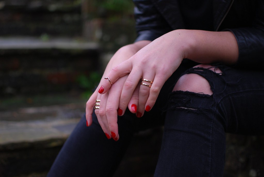 chambray and curls minimal gold rings and red nails shop dixi
