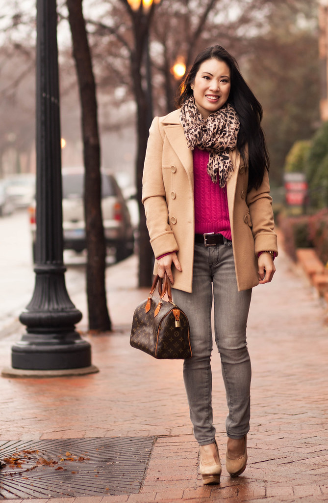 cute & little blog | hot pink sweater, leopard scarf, camel peacoat, gray jeans, speedy 25 outfit