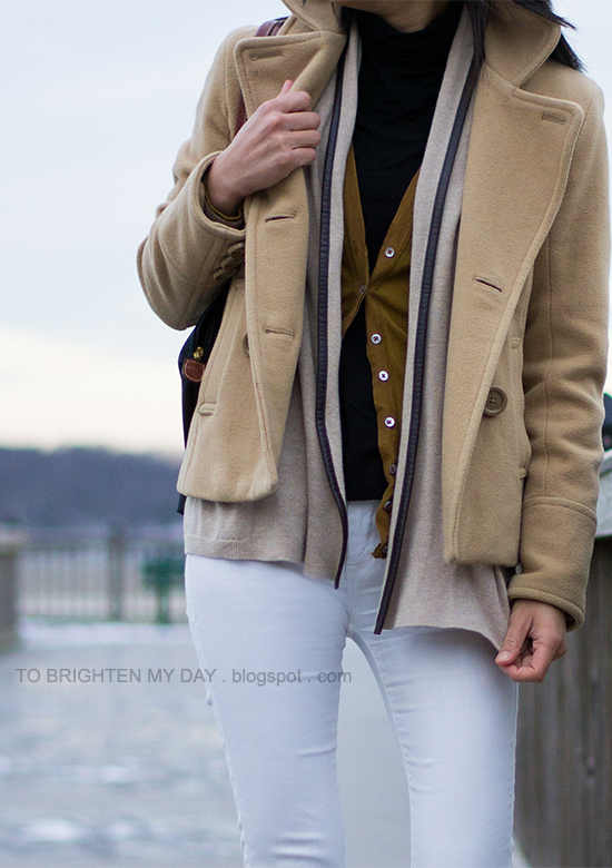 camel peacoat, sweater, cardigan, turtleneck, white jeans