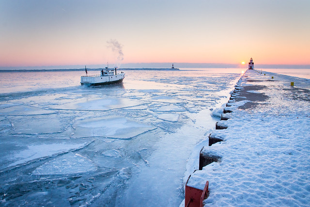 Fishing Boat, Ice, Cold, Winter, Sunrise, Lighthouse, Kewaunee, Lake Michigan