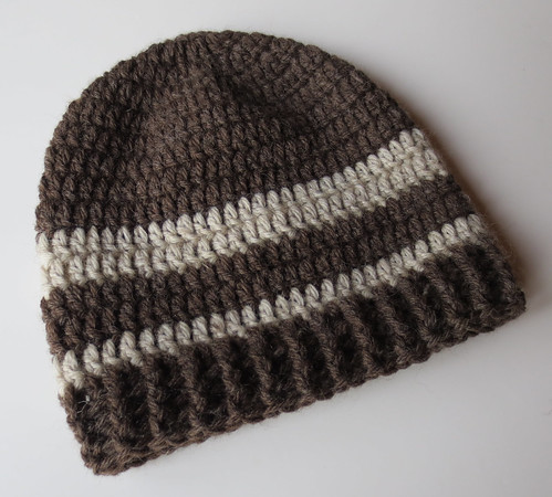 Cocoa Brown Striped Wool Ribbed Hat