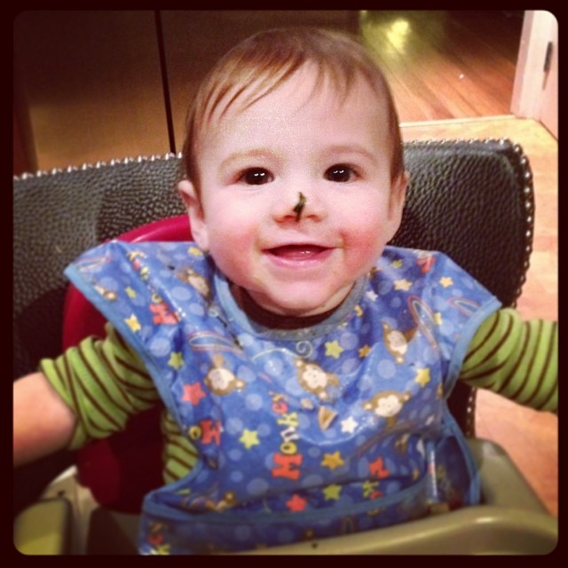 A happy baby w spinach on his noes. OH THE CUTE. #baby #8months #stevensonpartyof5
