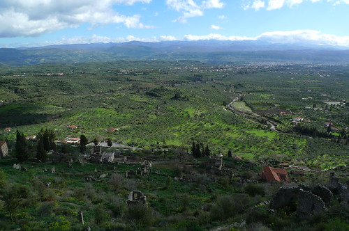 The Plains of Sparta as seen from Mystras, Greece