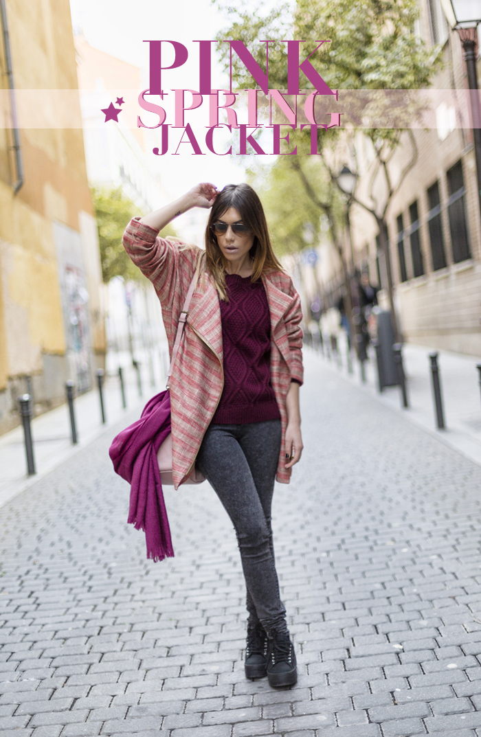 street style barbara crespo pink spring jacket the corner shop fashion blogger outfit blog de moda