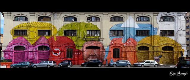 Roma. Ostiense. Fronte del Porto. Street Art by Blu