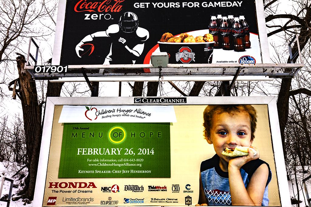 Coke-and-anti-hunger-billboards--Columbus