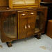 Ornate oak stained low sideboard