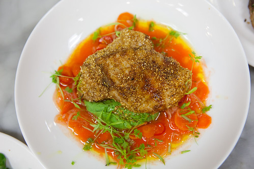 Chef Kluger's Spice crusted monkfish, fava puree & carrot vinaigrette