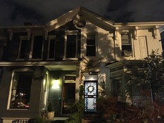 Duplex house at night, S Street NW, Washington, D.C.