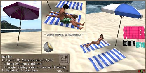 PROMO ! *RnB* Mesh Towel & Umbrella - Single & Couples - SFF EXCLUSIVE