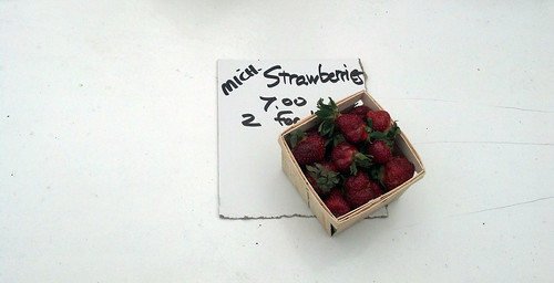 Lonely box of strawberries