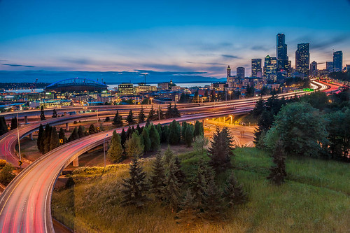 seattle longexposure sunset usa skyline lights washington dusk