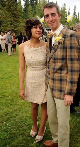 Sophia Isabel and Travis Olsen, groomsman, Wedding of Jessie and Chris, garden, family home, Fairbanks, Alaska, USA by Wonderlane